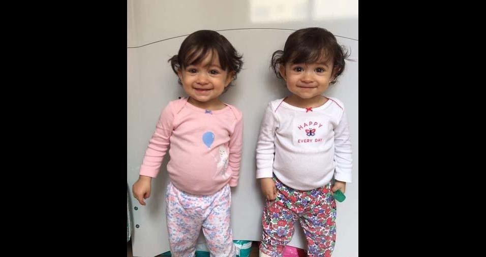 Priscila e Bernardo, de Juiz de Fora (MG), enviaram foto das gêmeas Ana e Lis