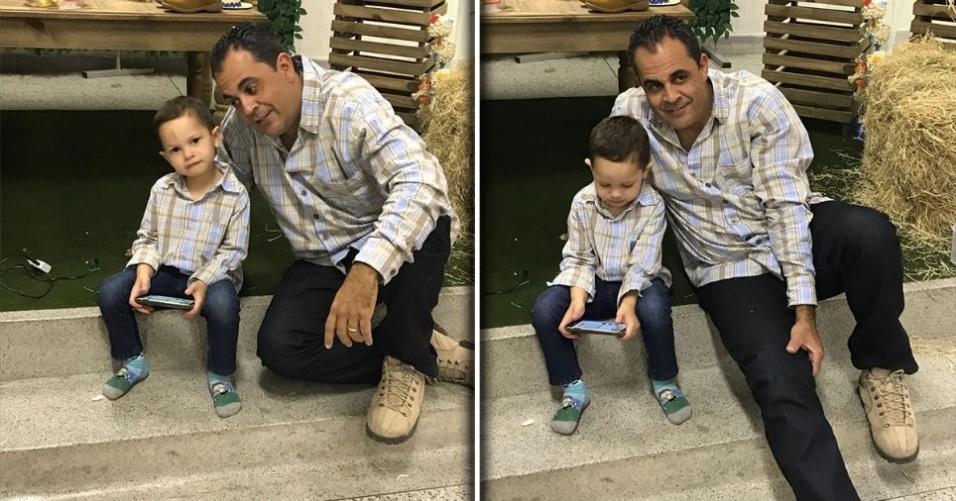 """De Sorocaba (SP), a Érica Soares enviou foto do Fabio Fabri com o filho Gustavo: """"Muito amor envolvido!"""""""