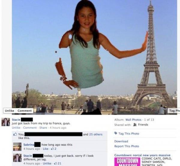 """2.fev.2016 - """"De volta das minhas férias em Paris"""", talvez confundindo com as famosas (e manjadas) fotos ao lado da torre de Pisa"""