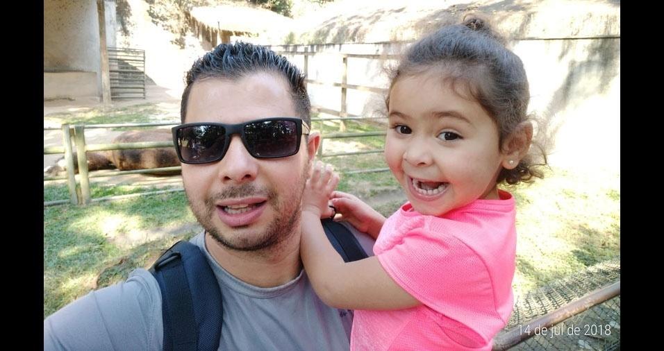 Papai Rodrigo com a filha Rafaela