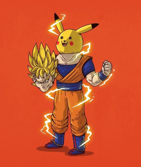 """21.out.2015 - Os desenhos animados japoneses também entraram na brincadeira do ilustrador. Nesta imagem, os poderes de Goku, protagonista de """"Dragon Ball"""", têm sua origem em Pikachu, de """"Pokemon"""""""
