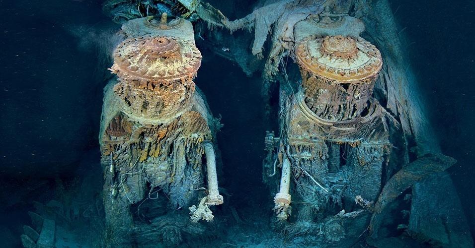 Somente após longos 73 anos, em setembro de 1985, os restos do Titanic foram encontrados. A descoberta foi feita durante expedições norte-americanas e francesas. Na imagem, os motores do navio, já bastante deteriorados