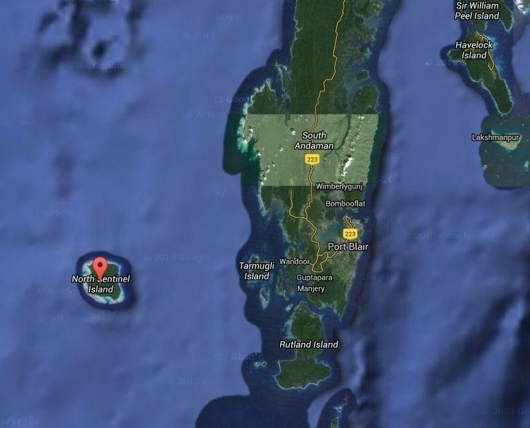 21.mai.2016 - Região da Ilha de Sentinela do Norte é vista a partir de imagem de satélite do Google
