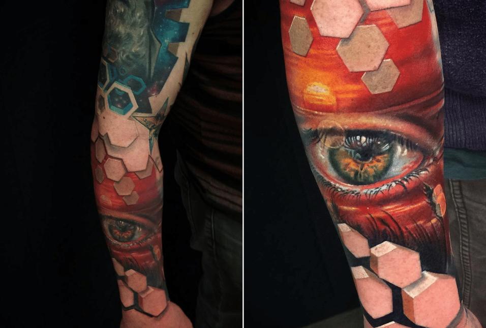 2.jun.2017 - Jesse Rix usa e abusa das formas geométricas para dar a sensação de tridimensionalidade às suas tatuagens