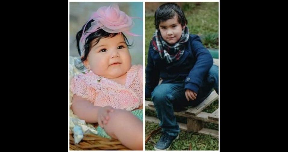 A mamãe Amanda Vieira de Oliveira, de Sapiranga (RS), mandou foto dos filhos Frida Ávila e Samuel Ávila