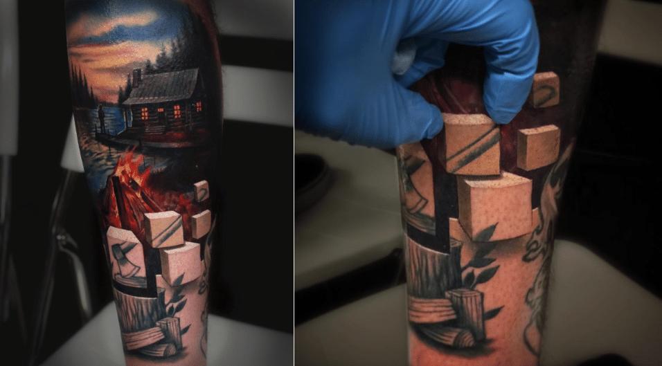 2.jun.2017 - Em foto compartilhada no Instagram, o tatuador Jesse Rix brinca com a própria criação