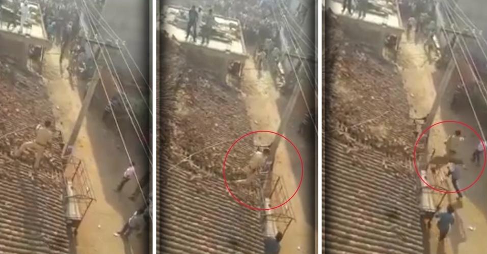 26.abr.2017 - Um guarda florestal passou por apuros na tentativa de capturar um leopardo na Índia. O animal havia invadido e atacado um vilarejo ne Kuruli, área florestal da cidade de Odisha. O flagra foi gravado por um morador e divulgado pelo site local NDTV. O homem aparece no telhado de uma casa durante a tentativa de resgate. Com cuidado, ele dá alguns passos e é surpreendido pelo animal, que sai correndo do meio das telhas em direção ao guarda.