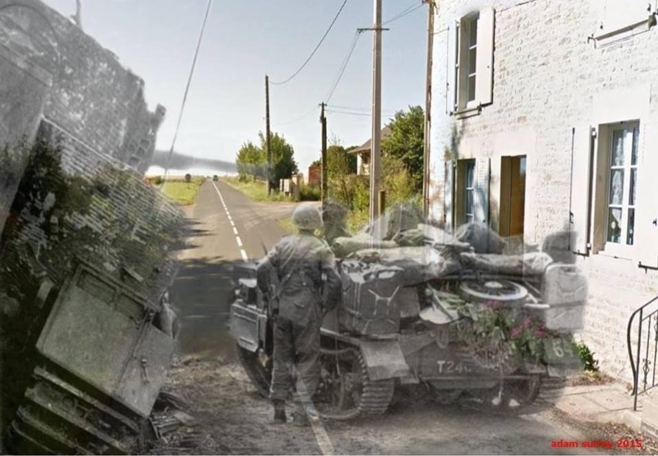 """24.nov.2015 - Imagem registrada durante a """"Operação Epsom"""" mostra uma casa no lugar onde já foi colocado estrategicamente um tanque de guerra"""