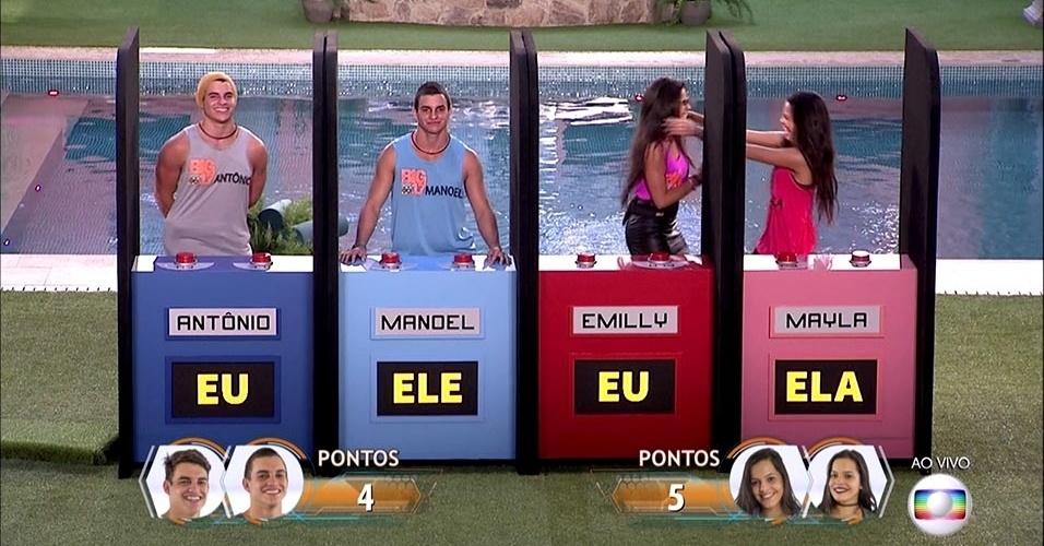 """As gêmeas Emilly e Mayla venceram o game de perguntas e respostas no primeiro programa ao vivo do """"BBB17"""" - Reprodução/TV Globo"""