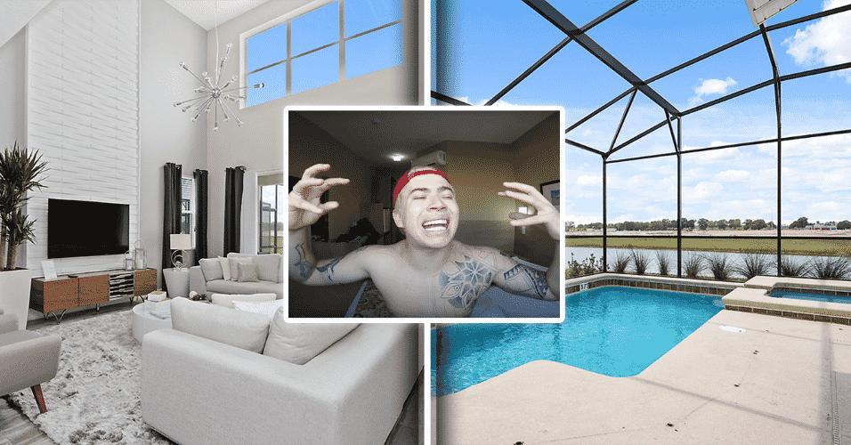 """12.jul.2017 - Sucesso de público no Youtube, Whindersson Nunes alugou uma casa de cinco suítes para sua turnê pelos Estados Unidos, segundo o site """"O Fuxico"""". Próxima dos parques da Disney, na Flórida, a propriedade está avaliada em mais de R$ 1,4 milhão e inclui piscina privativa e salão de jogos. Confira a seguir outras fotos da casa - Divulgação e Reprodução/Youtube - Montagem BOL"""