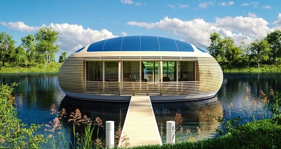 """4.set.2017 - Uma casa ecológica e flutuante. É assim o projeto da """"WaterNest 100"""", desenvolvida pelo arquiteto italiano Giancarlo Zema. Construída com material 100% reciclado, a casa conta com ventilação natural e 60 painéis solares, o que garante sua energia"""