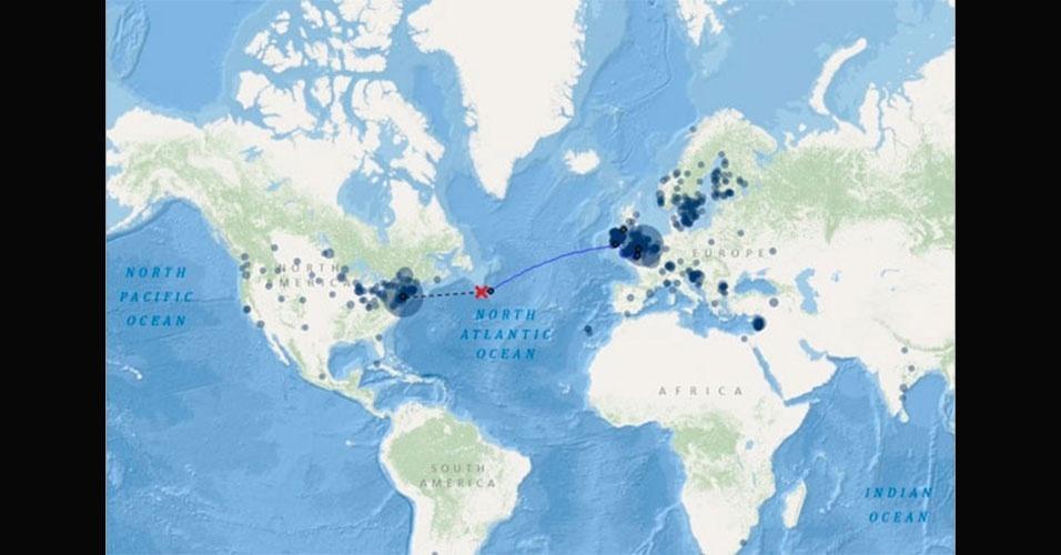 Mapa mostra o ponto exato onde o Titanic colidiu com um iceberg na noite de 14 de abril de 1912. A embarcação saiu de Southampton, na Inglaterra, com destino a Nova York, nos Estados Unidos. O naufrágio ocorreu na região dos bancos gelados de Newfoundland