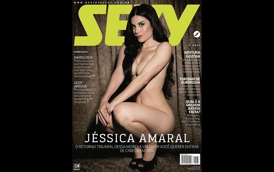 """13.jan.2016 - Capa da Sexy de janeiro, Jéssica Amaral foi eleita o """"Bumbum mais bonito do Brasil"""" em um concurso da Playboy, em 2012, e ficou em terceiro lugar no Miss Bumbum 2013"""