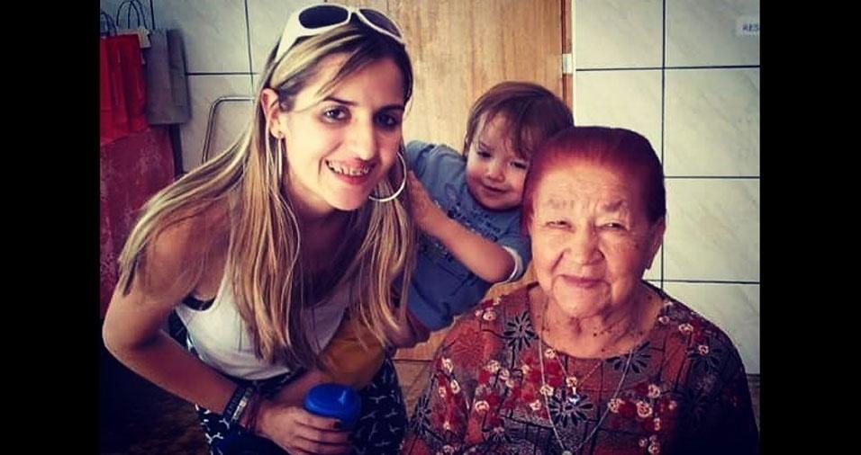 """""""Bernardo teve a honra de conhecer a trisavó Melandolina. Hoje ele e a mamãe Taís guardam essa imagem com amor e saudades"""", declara Taís, de São Paulo (SP)"""