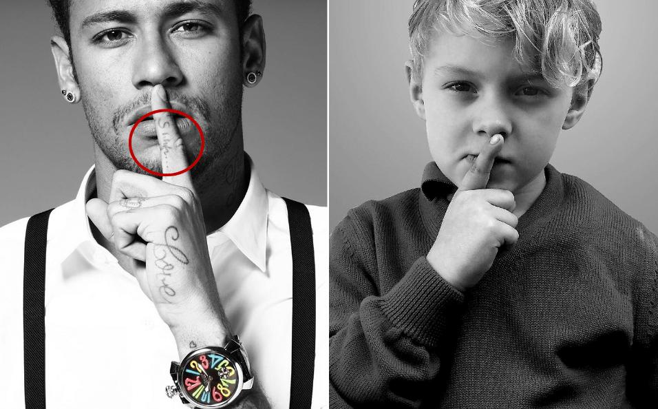 """9.mai.2017 - Tal pai, tal filho. Neymar e o filho David Lucca fazem a mesma pose, pedindo silêncio. No detalhe, a tatuagem do jogador brasileiro com a mensagem """"Shhh..."""""""