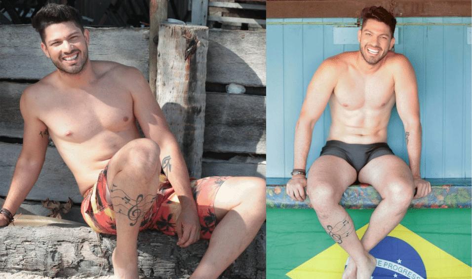 Jan.2017 - O modelo Luiz Felipe tem ainda ideogramas chineses na parte de dentro do braço direito e notas musicais na perna direita