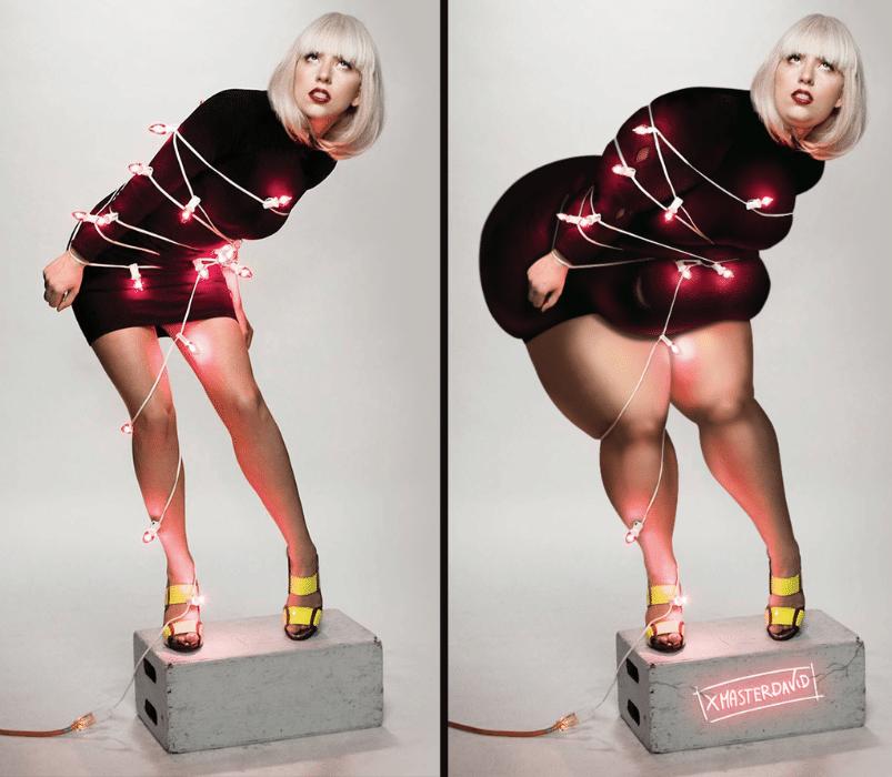 """11.dez.2015 - Capa do álbum """"Christmas Tree"""", de Lady Gaga, entrou na série """"Antes e Depois"""", em que o ilustrador David Lopera tenta mostrar que """"mulheres plus size também podem ser bonitas"""""""
