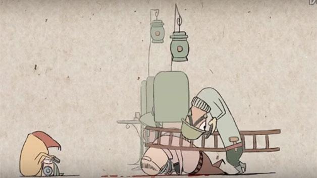 4.nov.2015 - Na animação do canal Min Alxe, até mesmo os cirurgiões aparecem distantes da realidade, conectados nos celulares