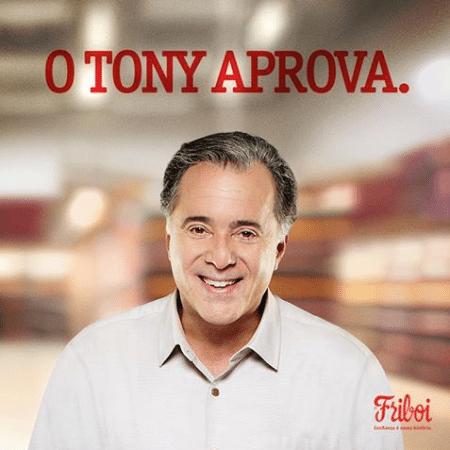 Tony Ramos como garoto propaganda da marca Friboi de carnes - Reprodução