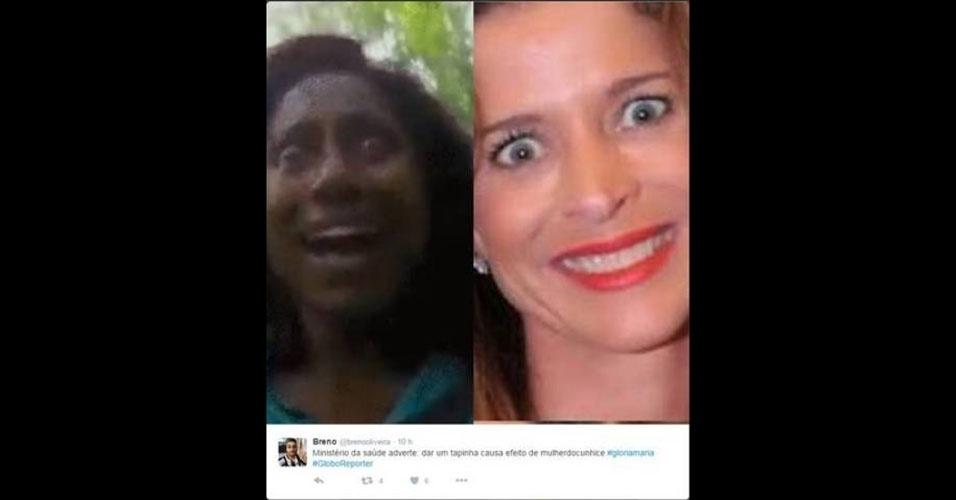 2.jul.2016 - Em um dos memes que circulam na web, um internauta compara os olhares de Glória Maria e da mulher de Eduardo Cunha, que já é um ícone dos memes por causa de sempre sair com os olhos arregalados em fotos