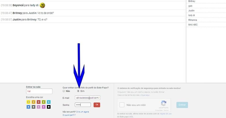 Acesso - Para acessar a sala usando sua foto do Perfil do Bate-papo, marque a opção 'Sim' conforme indica a imagem acima. Depois, informe seu e-mail e senha cadastrados no Perfil e clique em OK. Continua a seguir.