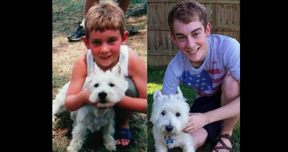 25. 14 anos se passaram para este garotinho e para o cãozinho
