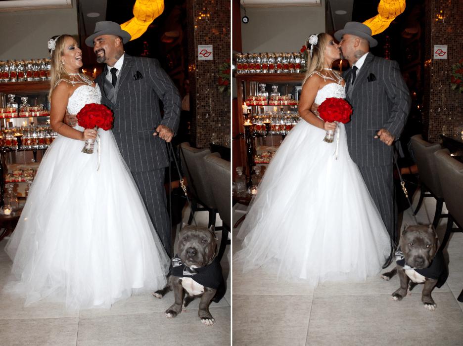 17.jan.2016 - Recém-casados, Vivi Fernandez e Fabiano dos Santos posam para fotos após cerimônia em um salão de festas, em São Paulo