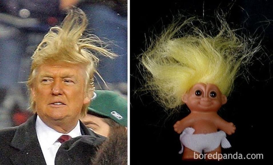 Fev.2017 - O presidente dos Estados Unidos, Donald Trump (esq.), e um boneco da linha Troll