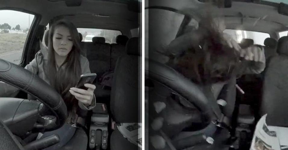 """Intitulada """"It can wait"""" (Isso pode esperar), uma campanha do governo da Cidade do Cabo mostra pedestres sofrendo pequenos acidentes causados por distração no celular. No entanto, ao final do vídeo, uma jovem aparece dirigindo com um celular na mão. De repente, ela sofre um acidente. Uma mensagem, então, faz o alerta: """"Se você não consegue digitar e andar, então por que digita ao dirigir""""."""