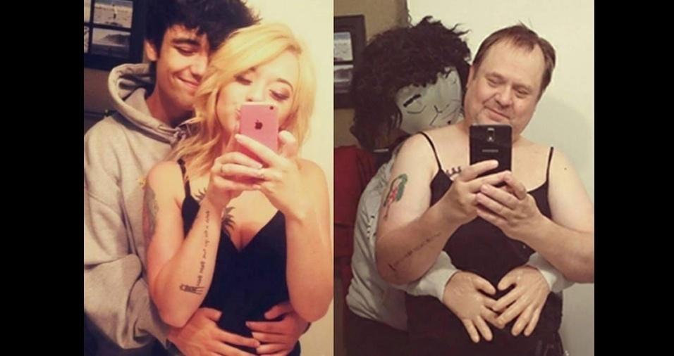 15. Uma foto que sem dúvida é sucesso entre os seguidores da dupla é a imagem romântica que o pai copiou da filha com o genro