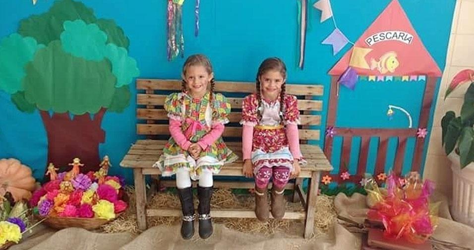 Beatriz (7) e Yasmin (6), de Americana (SP), em foto enviada pela mamãe Vanessa Lima