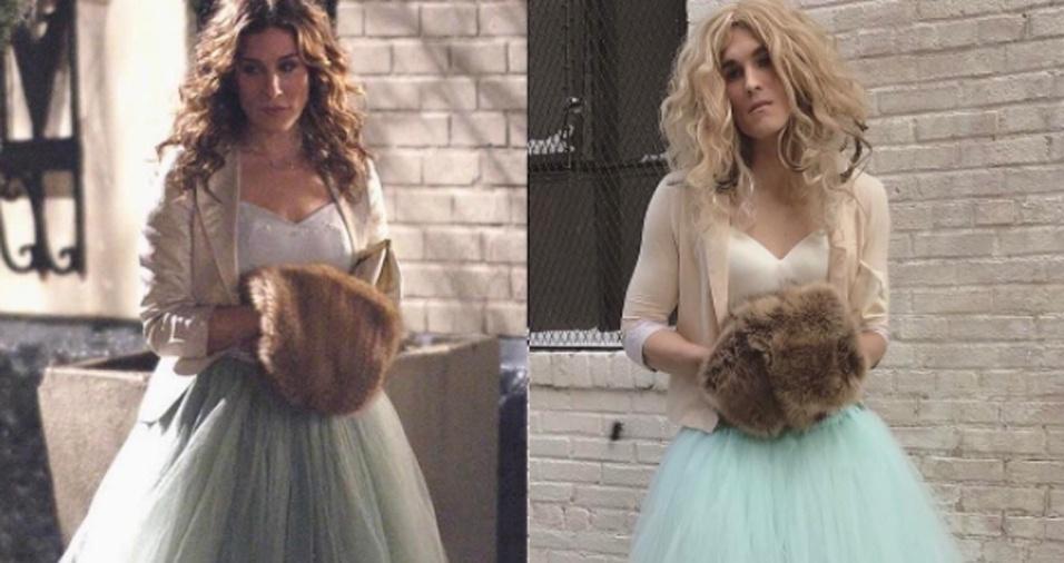 """1. Aos 32 anos, o estadunidense Dan Clay resolveu se vestir de Carrie Bradshaw, nome da personagem principal da série """"Sex And The City"""", para o Halloween do ano passado. Eis que sua fantasia fez tanto sucesso, que ele começou a se vestir mais como a diva"""