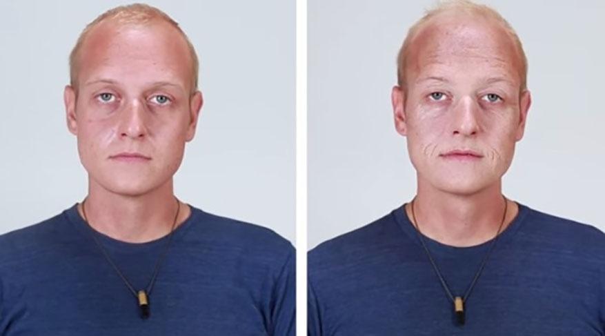 8.set.2015 - Na imagem, Michael (esq.) antes e depois (dir.) da transformação. A mudança em questão faz parte de um vídeo do site americano BuzzFeed que mostrou, com a ajuda da maquiagem, os efeitos do cigarro na aparência das pessoas