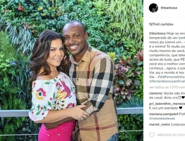 18.nov.2016 - O cantor Thiaguinho abriu o coração e surpreendeu a amada, Fernanda Souza, em post da web, declarando seu amor e dando parabéns pelo programa