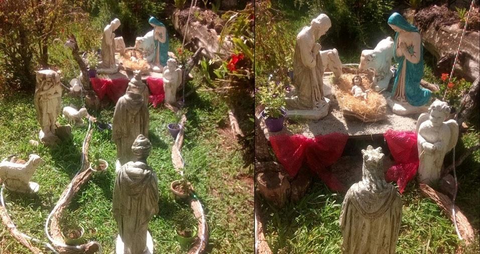Presépio no jardim da casa de Giovanna, de São Paulo (SP)