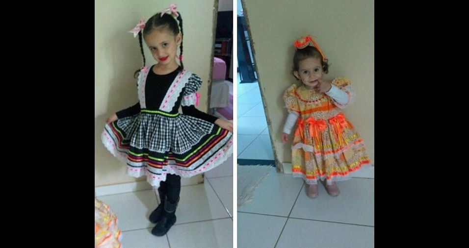 Maria Rita (de preto) e Maria Cecília (de laranja), de Arcos (MG), são as caipirinhas mais lindas na opinião da mamãe, Rita de Cássia Oliveira