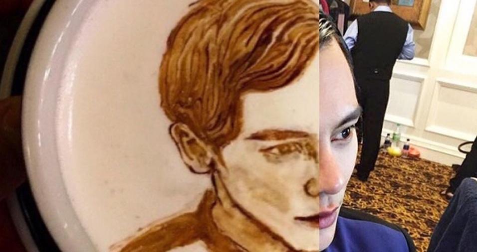 48. É impressionante essa comparação do rosto da pessoa e do resultado obtido por Lee ao desenhar na espuma do café