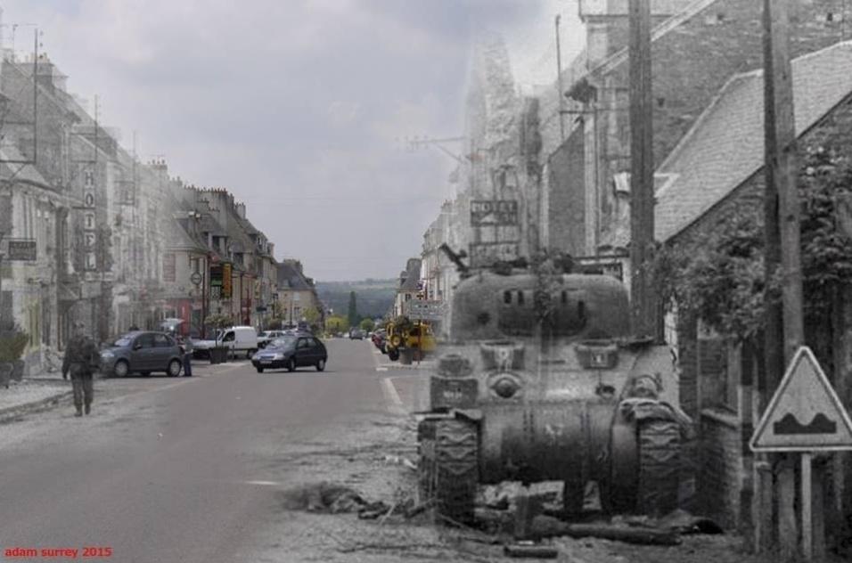24.nov.2015 - Tanque de guerra destruído é fotografado na França; ao fundo, o mesmo local foi clicado recentemente