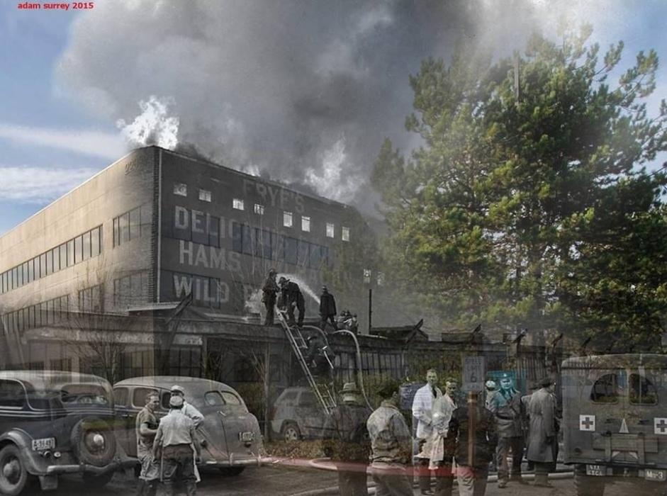 24.nov.2015 - Bombeiros trabalham após queda de um avião B-29 em uma fábrica de embalagem de carne em Seattle, nos EUA. Ao todo, 32 pessoas morreram. O triste fato aconteceu em fevereiro de 1943. O atual edifício foi construído nos mesmos moldes do original