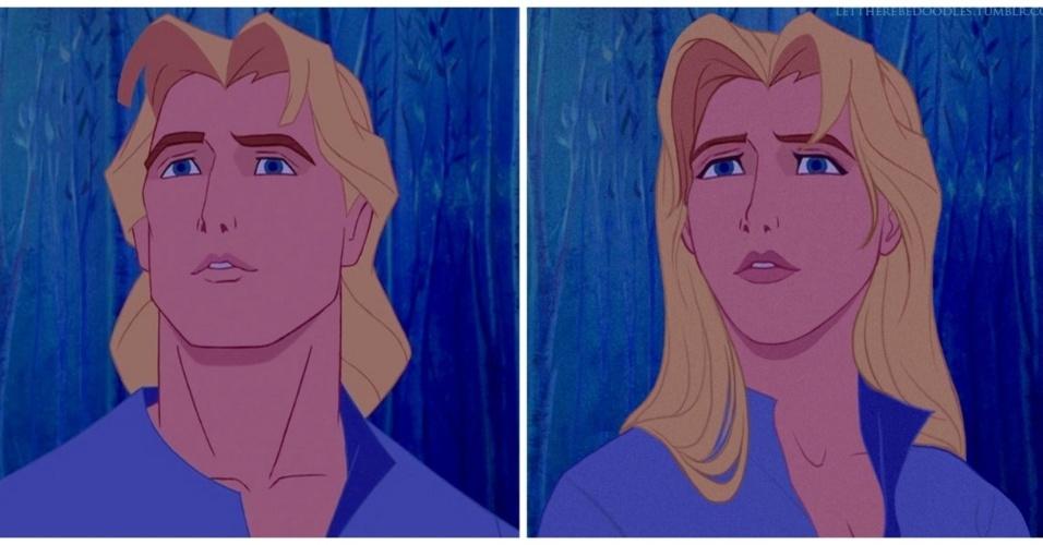"""6.jan.2016 - O personagem John Smith, de """"Pocahontas"""" (1995) ganhou traços delicados em sua versão feminina"""