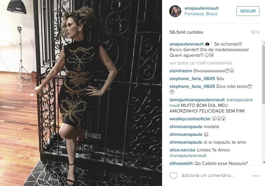 """18.bar.2016 - """"Se achando! Rs. Gente! Dia de modelaaaaaaaa! Quem aguenta?"""", escreveu a ex-BBB Ana Paula Renault em sua conta no Instagram. Com mais de 1,5 milhões de fãs na rede social, os fãs enchem a mineira de elogios nas fotos postadas. """"Sua linda, maravilhosa! Te amo!"""", """"A senhora destruidora! Lacra tudo"""", """"Nossa, fiquei até sem fôlego"""", comentaram alguns deles na web"""