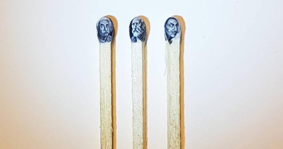 13. Cabeças de fósforos, ou melhor, as cabeças de Albert Einstein, Pyotr Ilyich Tchaikovsky e Salvador Dali, respectivamente
