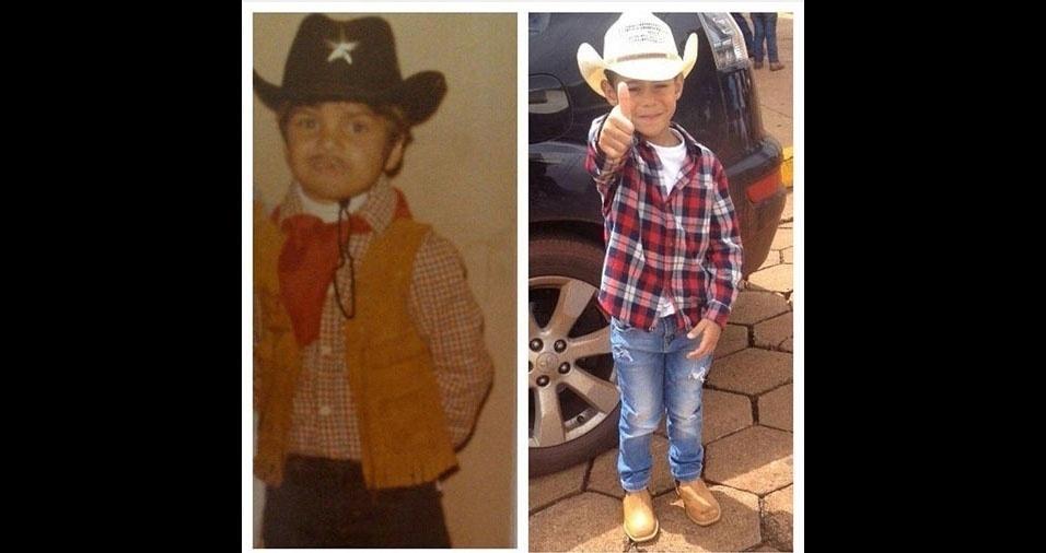 Robson de Souza, de Santana do Parnaíba (SP), comprarou uma foto sua antiga, quando estava prontinho para ir para a festa junina, com uma foto atual do filho Arthur, também pronto para o arraial