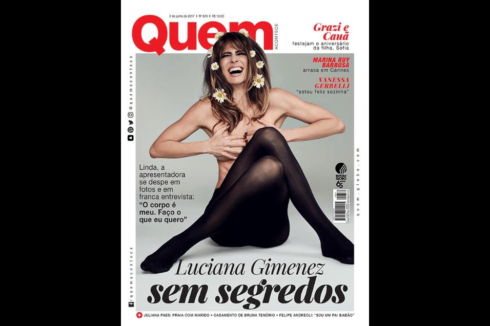 """31.mai.2017 - Luciana Gimenez abriu o jogo em entrevista à revista """"Quem"""". Uma das capas mostra a apresentadora usando apenas uma meia-calça"""