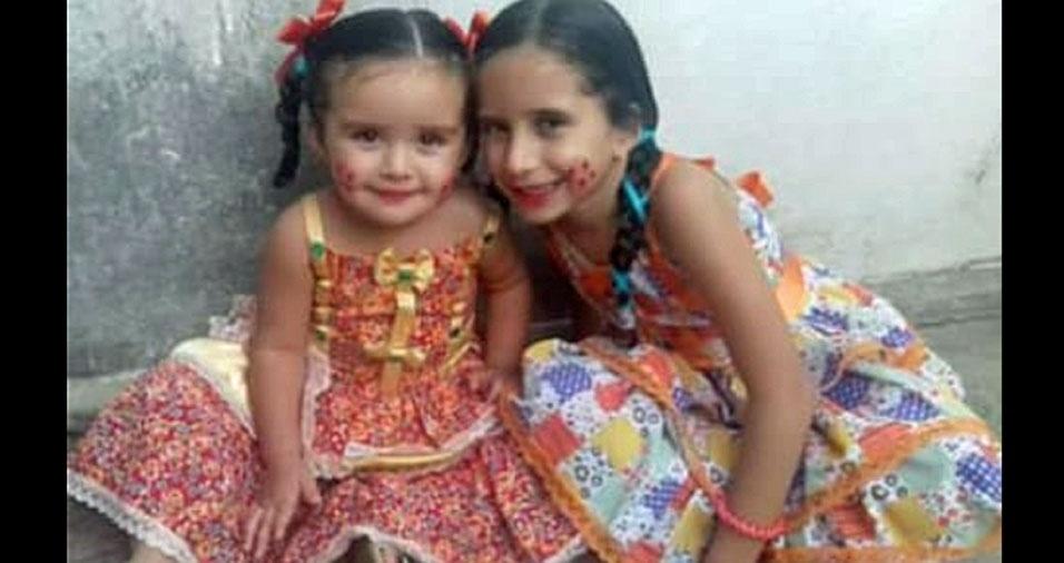 Cicera de Oliveira Lobo, de Crato (CE), enviou foto das filhas Angela, quatro anos, e Angélica, oito anos