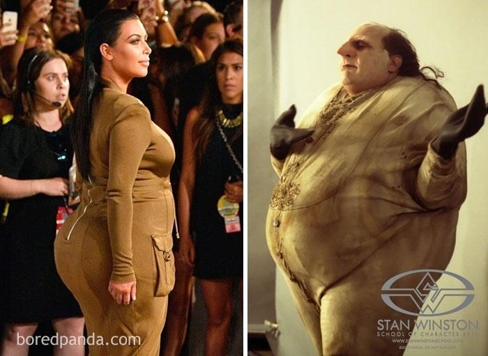 """Fev.2017 - Kim Kardashian (esq.) e o Pinguim, personagem de Danny De Vito no filme """"Batman - o Retorno"""""""