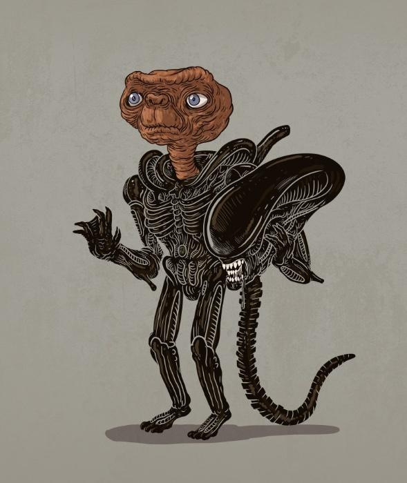 """21.out.2015 - O ilustrador Alex Solis, radicado em Chicago, nos Estados Unidos, criou a série """"Icons Unmasked"""" (ícones desmascarados, em tradução livre) em que personagens famosos da cultura pop mostram suas identidades alternativas. Na imagem, o alienígena de """"Aliens"""" é o bonzinho extraterrestre de """"E.T."""""""