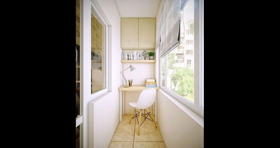 13. Nesta pequena varanda tudo é minimalista: a mesa, a cadeira, o armário, tudo estreito