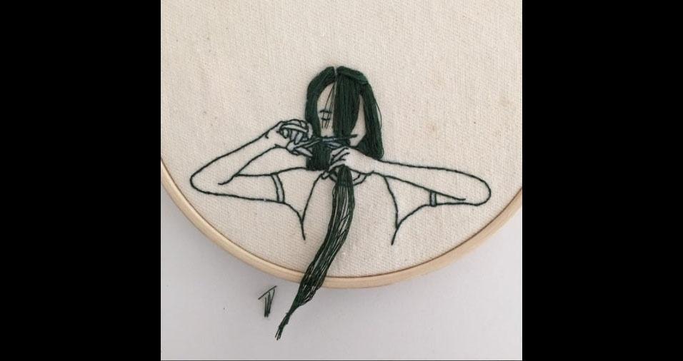 7. Trabalho em bordado da artista Sheena Liam