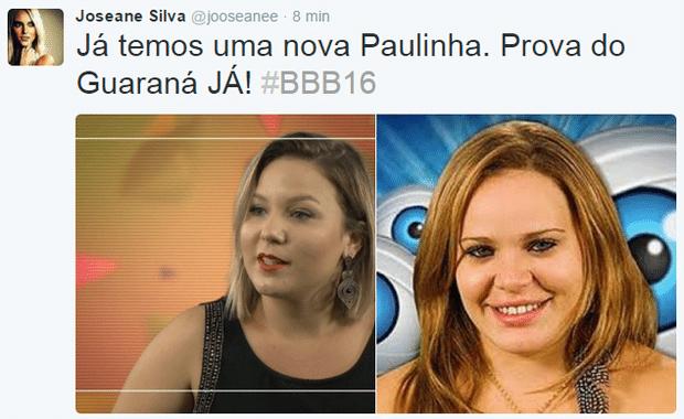 """19.jan.2016 - Olha, se a youtuber Maria Claudia, de Santa Cruz (RN), se aproximar do carisma da ex-BBB Paulinha Leite, ela já é uma estrela da nova edição do """"Big Brother Brasil"""""""